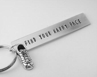 running keychain, hand stamped aluminum keyring, gift for runner, coach, marathon, triathlon athlete