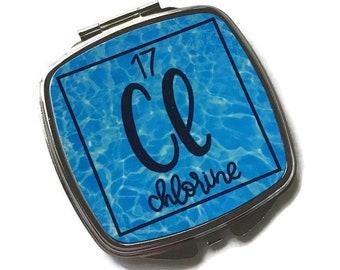 Chlorine compact mirror, purse mirror for swimmer, diver, swim coach, lifeguard, swim teacher, swimming team gift, pool party favor