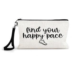 makeup bag, cosmetic pouch for runner, cross country girl, running coach, cross country team gift, zipper bag, running buddy gift, XC CC