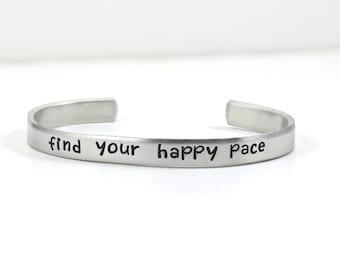 running bracelet, hand stamped aluminum cuff, cross country, marathon runner gift, sports jewelry