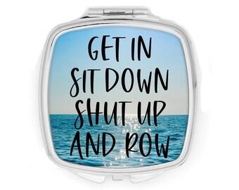 Rowing compact mirror, purse mirror, crew coach team gift, coxswain present, travel mirror crew gift, row team, regatta accessory, rowing