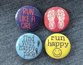 Running buttons, pin back button for runner, cross country flair, running buddy gift, run badges, running locker magnet set, marathon runner