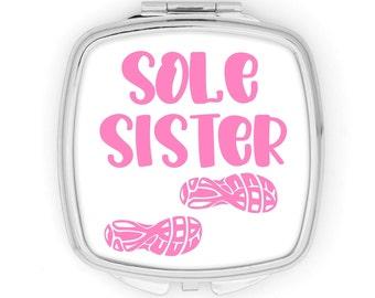 Runner compact mirror, sole sister purse mirror, cross country, track athlete, XC CC team gift, marathon, running buddy gift, half marathon
