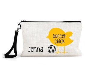 soccer player makeup bag, cosmetic pouch, soccer team gift for her, girls soccer coach, wristlet, personalized bag for soccer player