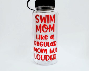 swim mom water bottle, wide mouth sports bottle, personalized Mother's Day gift, swim party, swimmer mom, water tracker for an awesome mom