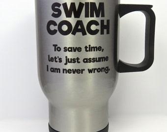 swim coach travel mug, swimming coach stainless steel mug, swimmer travel mug, gift for swim coach, swimming coach gifts, swim mug