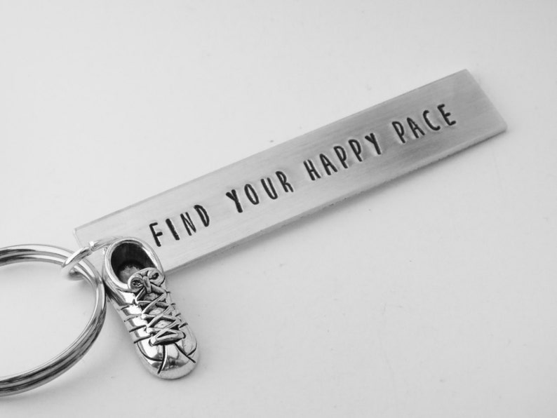 running keychain hand stamped aluminum keyring gift for image 0
