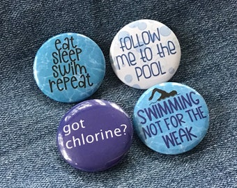 Swimming buttons, pin back buttons for swimmer, swim team recognition, swim flair, swimmer badges, pool party favor, swim team locker magnet