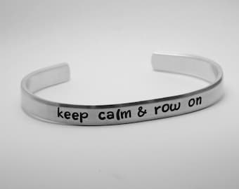 crew jewelry, hand stamped aluminum cuff bracelet for rower, rowing jewelry, gift for rower, adjustable aluminum cuff bracelet for rower