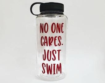 swimmer water bottle, wide mouth sports bottle, personalized sports bottle, swim team gift, swim party, swimming coach, water tracker