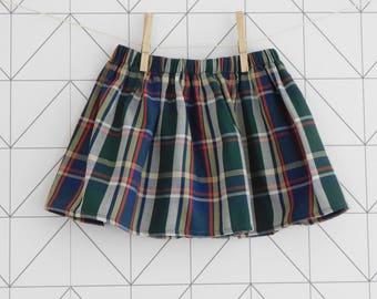 Tartan cotton baby and toddler skirt