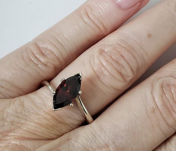 14k  Garnet marquise ring | 14k garnet ring | gar… - image 2