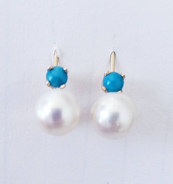 Cultured pearl earrings | turquoise earrings | pea