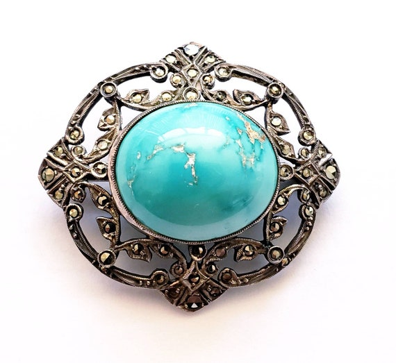 Turquoise brooch | cabochon turquoise | Marcasite