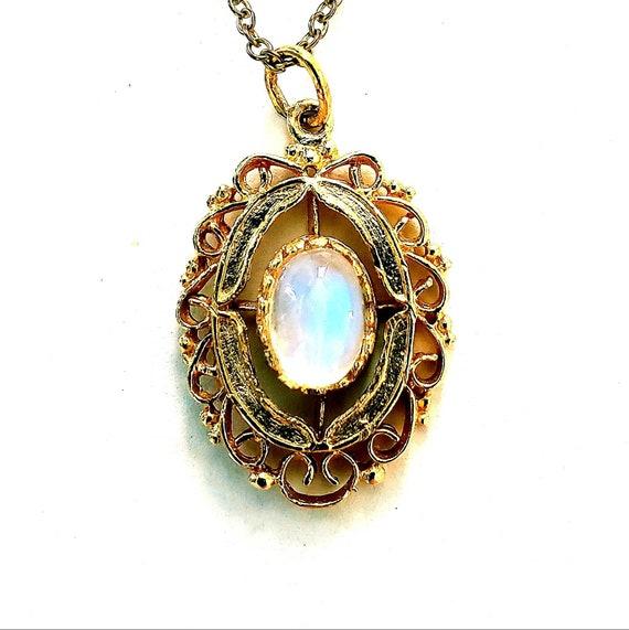 14k moonstone pendant | moonstone necklace