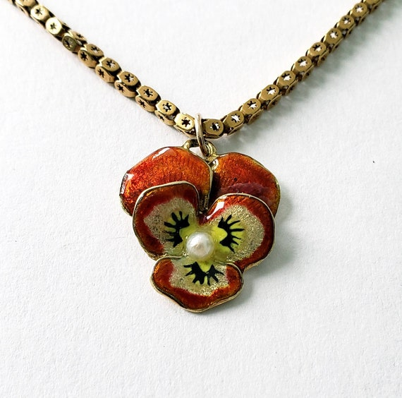 14k Victorian enamel pansy | pansy pendant | circa