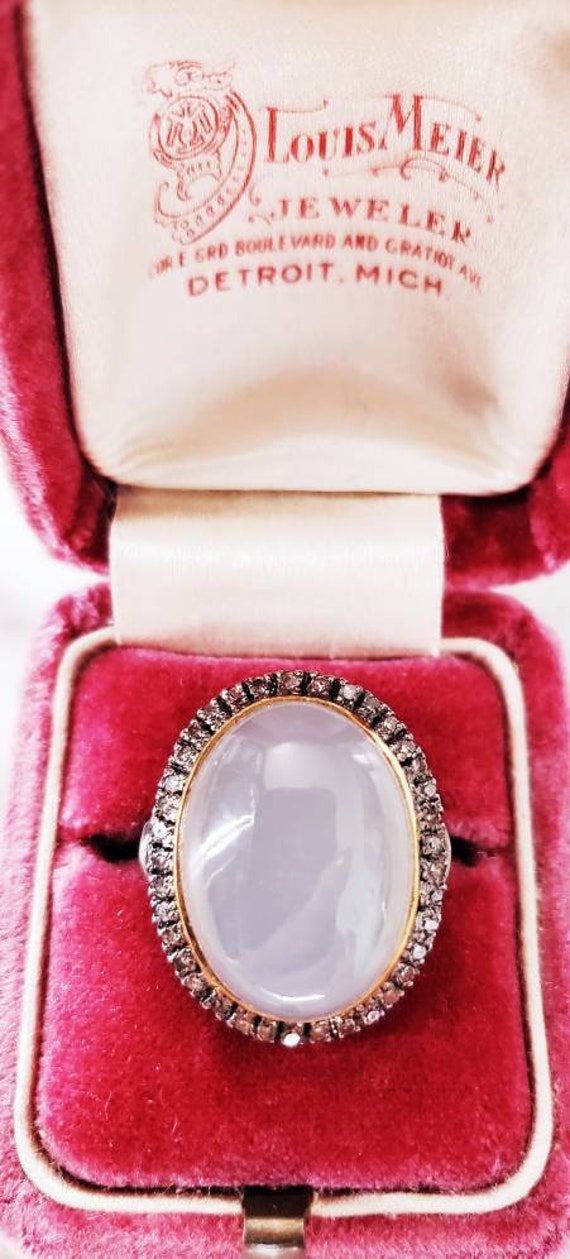 Moonstone diamond ring | large moonstone ring | di