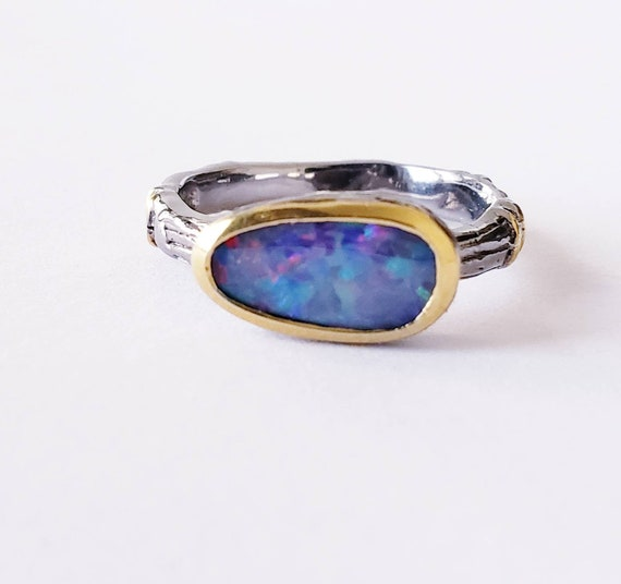 Opal ring | flashy opal ring | sterling opal stack