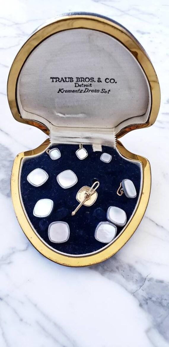 1930s art deco cufflinks | Krementz dress set | cu