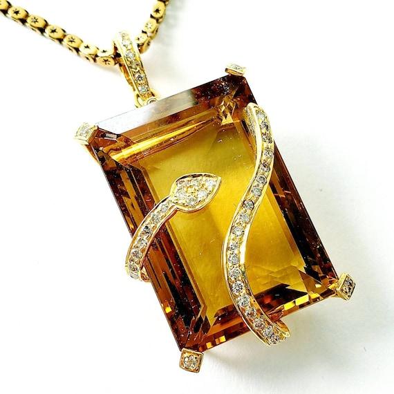 Large citrine diamond snake pendant | November bab