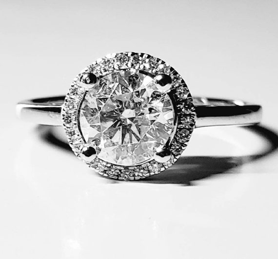 Diamond halo ring | diamond engagement ring | 1.0… - image 2