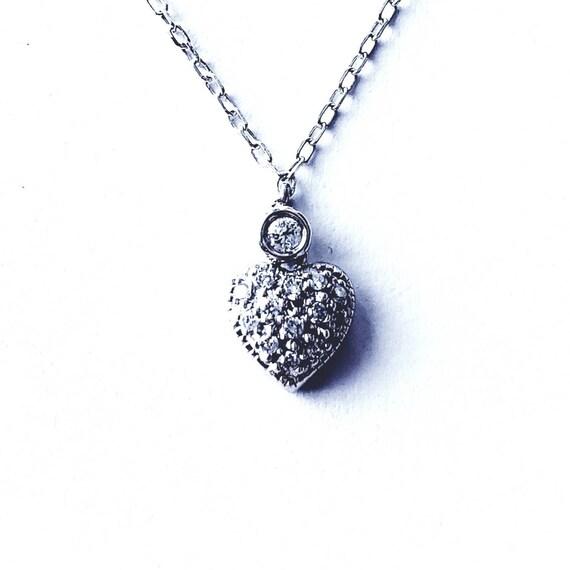 14k diamond heart | tiny diamond heart | sweet hea