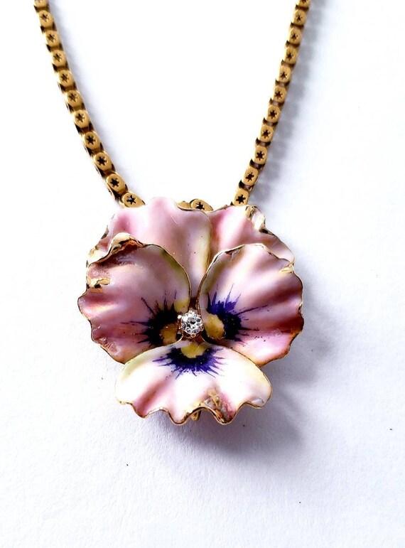 Enamel pansy | 14K enamel diamond pansy | Victoria