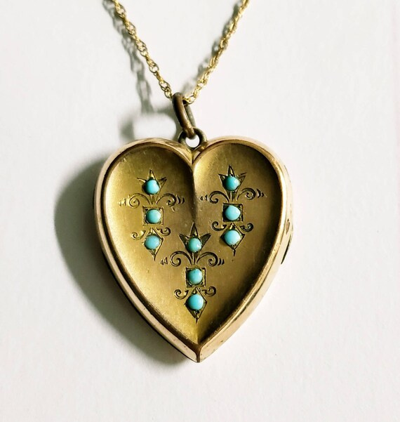 Victorian locket | heart locket | turquoise pendan