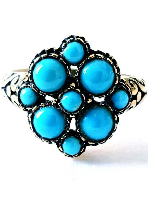 Antique turquoise ring |  turquoise ring | cluster