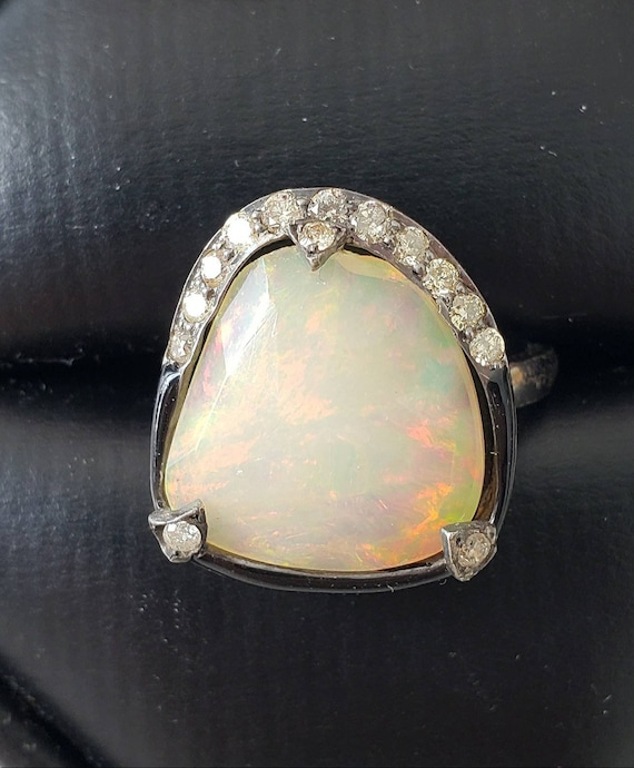 Opal ring | faceted opal | diamond opal ring | asy