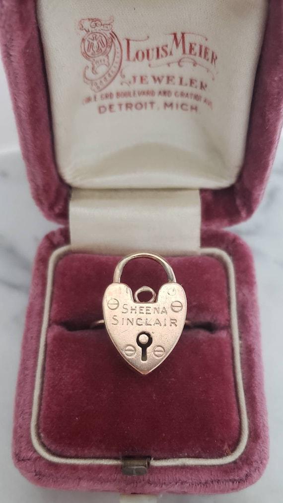 9k padlock heart ring | 9k heart ring | 14k ring