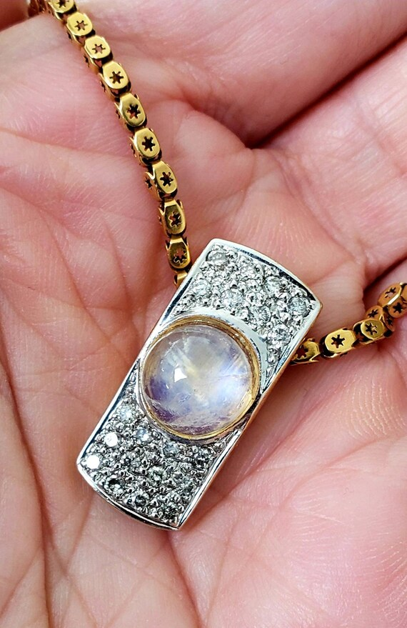 Moonstone & diamond pendant |  moonstone necklace