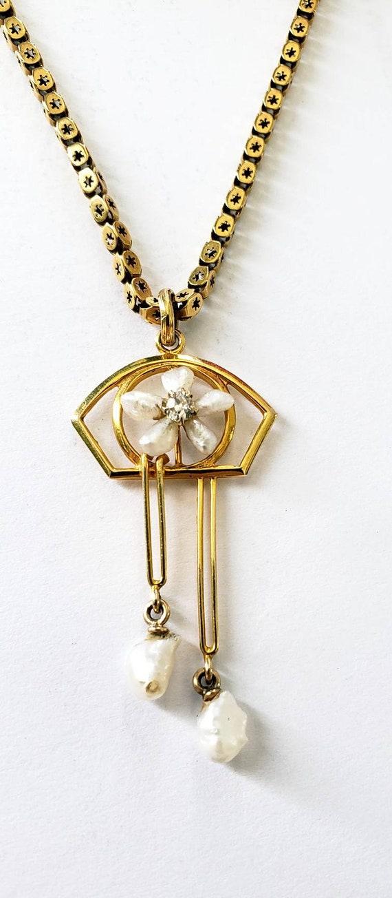 Antique pearl diamond  lavalier | pearl  pendant