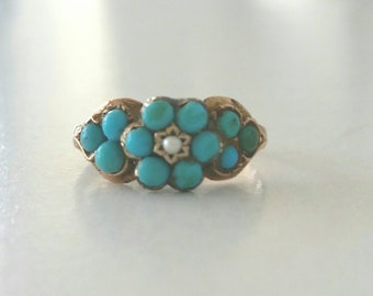 14k Georgian cluster  ring | turquoise flower  ring