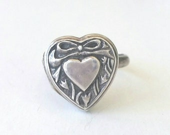 Sterling silver heart locket ring