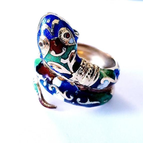 14k snake ring | enamel snake ring | serpent ring