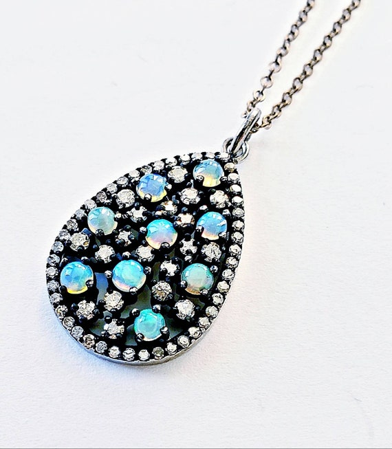 Opal pendant | diamond halo pendant | opal diamond