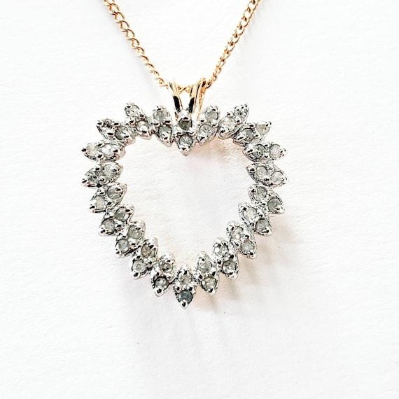 10k diamond heart pendant | diamond open heart | d