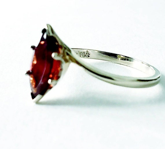 14k  Garnet marquise ring | 14k garnet ring | gar… - image 4