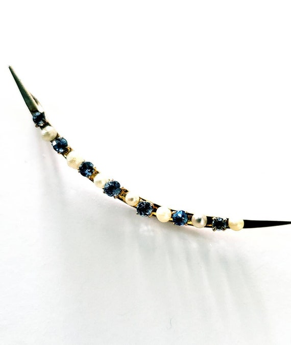 Victorian Sapphire and pearl crescent moon | 14k c
