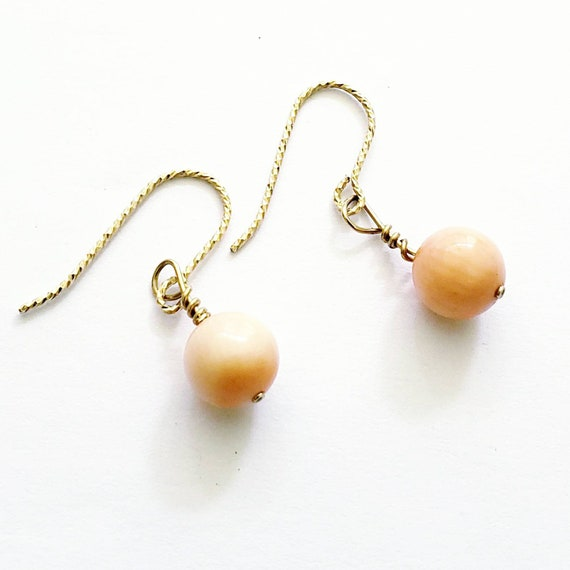 Coral earrings | coral sphere earrings | coral
