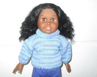 18 inch doll turtle neck blue sweater