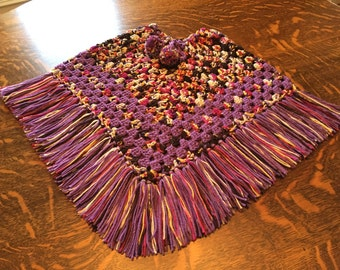 crocheted poncho girls size 8
