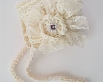 READY To Ship, Knitted Newborn Hat, Baby Girl Bonnet, Vintage Knitted Hat, Flower Hat, Photo prop, Beanie, Rustic, Shabby bonnet