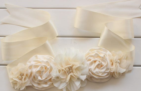 2pcs Wedding Bridal Bridesmaid Flower Girl Maternity Sash Belt Headband Set