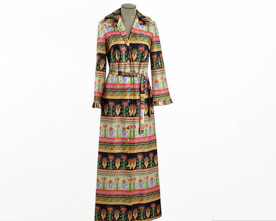 60s Vintage Long Sleeve Maxi Dress Button up Belt… - image 1