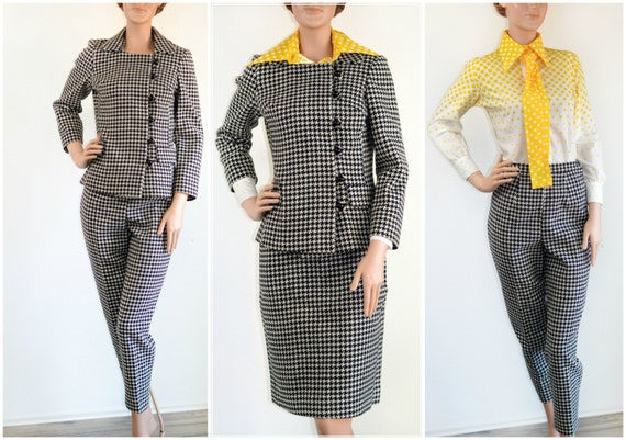 Vintage 50's Houndstooth Suit Side Button Jacket P