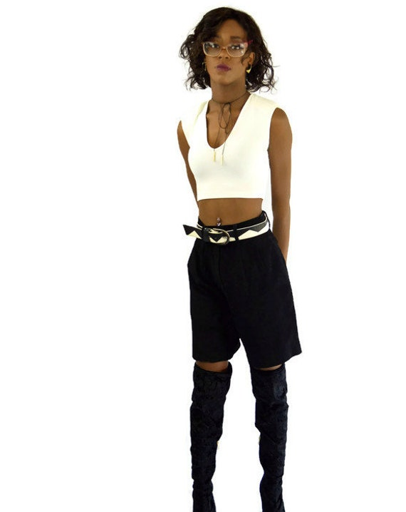 90s Vintage Black Suede Shorts High Waisted