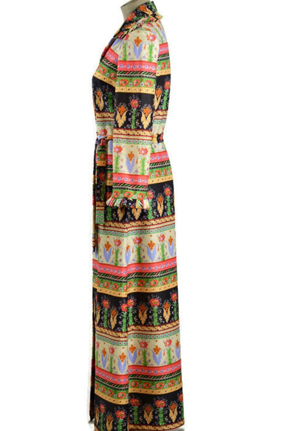 60s Vintage Long Sleeve Maxi Dress Button up Belt… - image 2