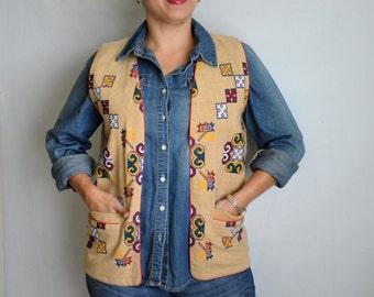 Vintage Ethnic Vest Tan Colorful Decorative Stitching